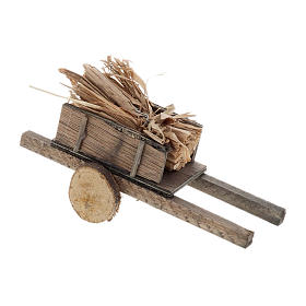 Nativity scene accessory, cart with straw bundles s2