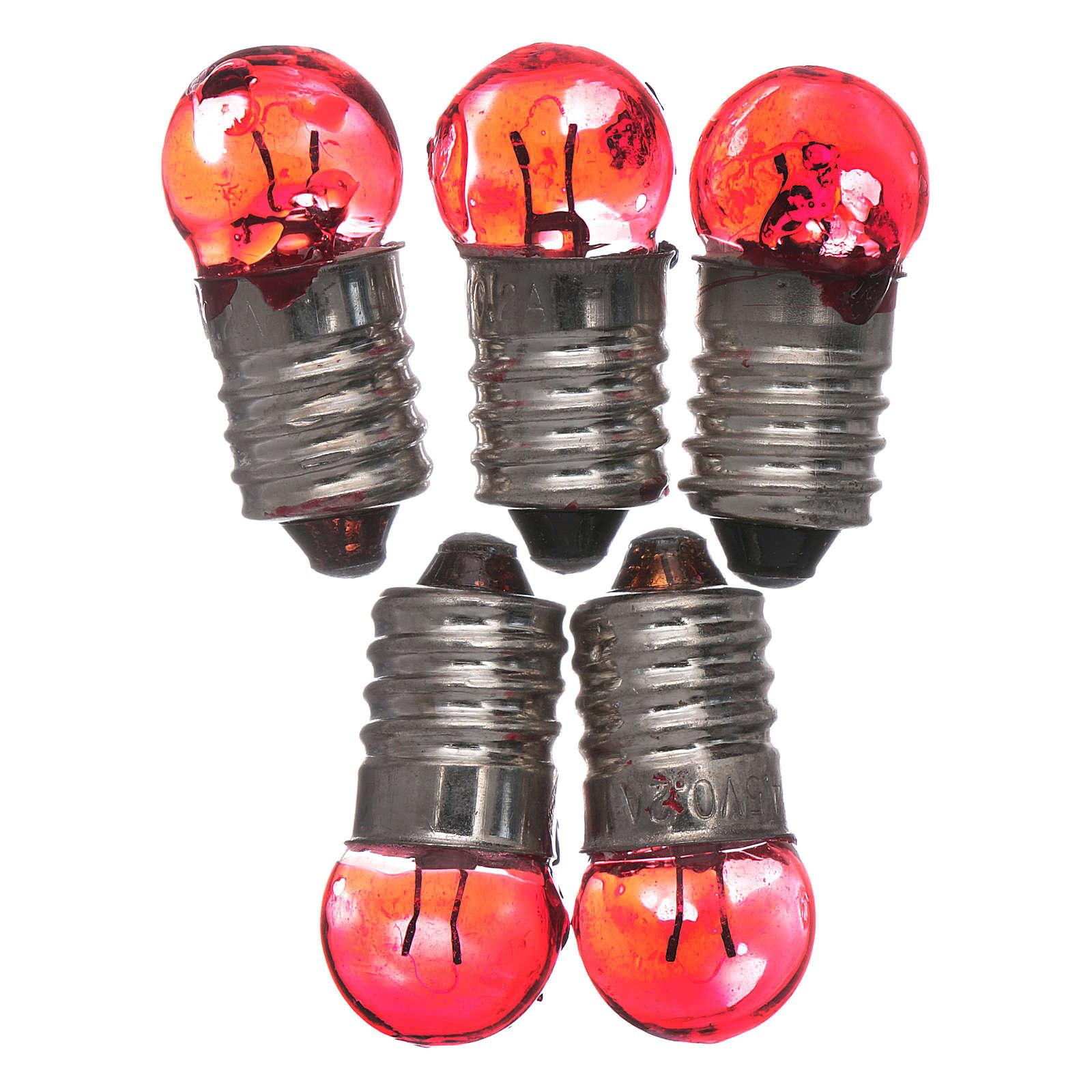 Bombilla E10 roja 5 pz. 3,5-4,5v. 4