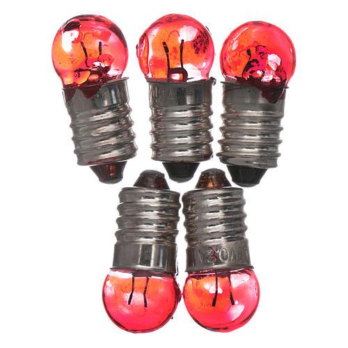 Bombilla E10 roja 5 pz. 3,5-4,5v. 1