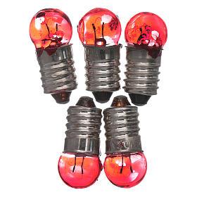 Luzes e Lamparinas para o Presépio: Lâmpada E10 vermelha 5 peças 3,5-4,5V