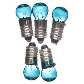 Luzes e Lamparinas para o Presépio: Lâmpada E5,5 azul 5 peças 3V