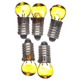 Luzes e Lamparinas para o Presépio: Lâmpada E5,5 amarela 5 peças 3V