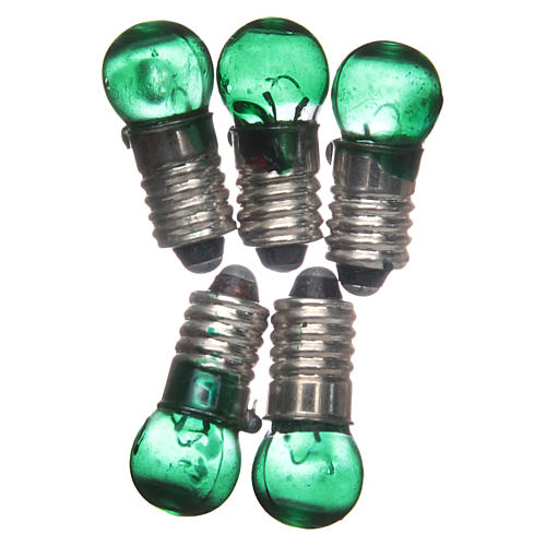 Light bulb, green, E5.5, 5pieces, 3V 1