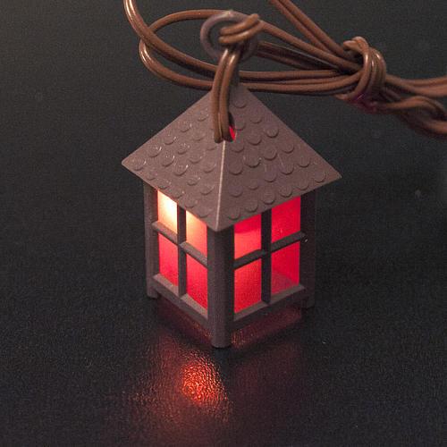 Lanterne plastique lumière rouge h 4 cm 2