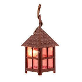 Lampion plastik światło czerwone h 4 cm s1