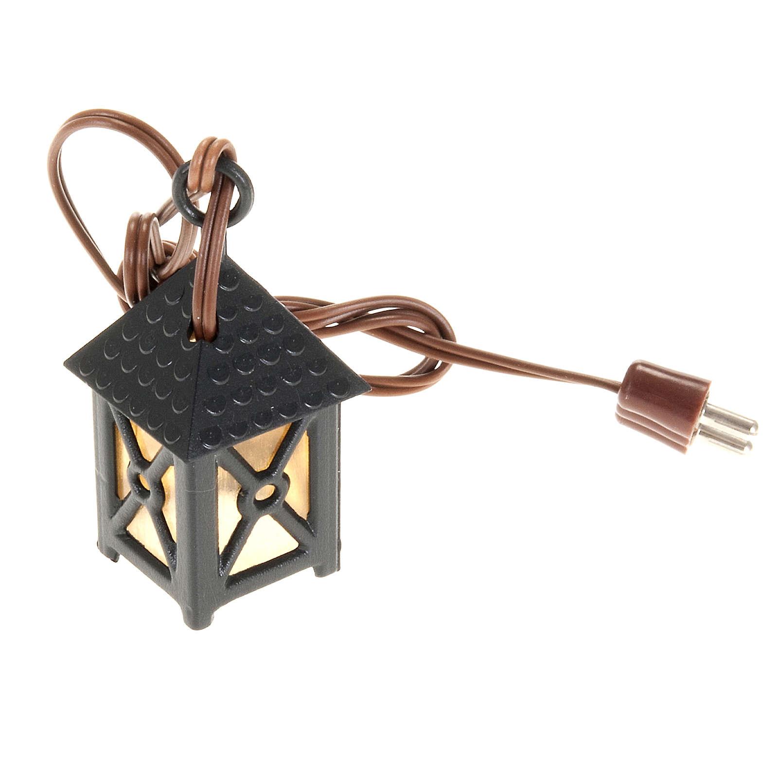 Nativity accessory, plastic lamp with yellow light, 4cm 4