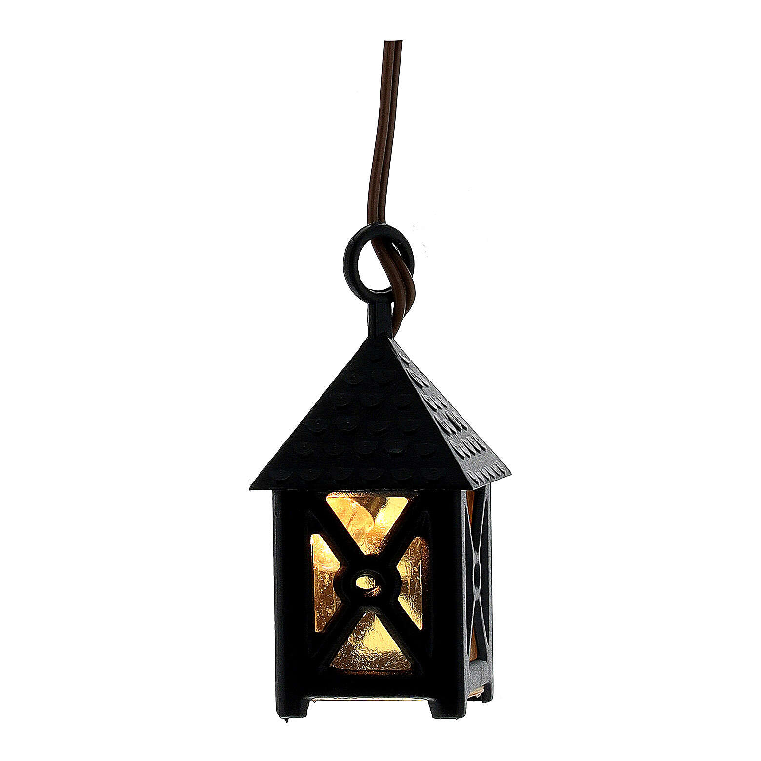 Nativity accessory, plastic lamp with yellow light, 4cm 4
