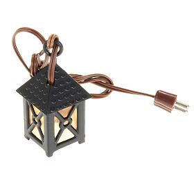 Nativity accessory, plastic lamp with yellow light, 4cm s1