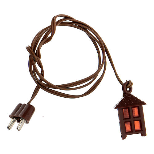 Nativity accessory, plastic lamp with red light, 2.5cm 3