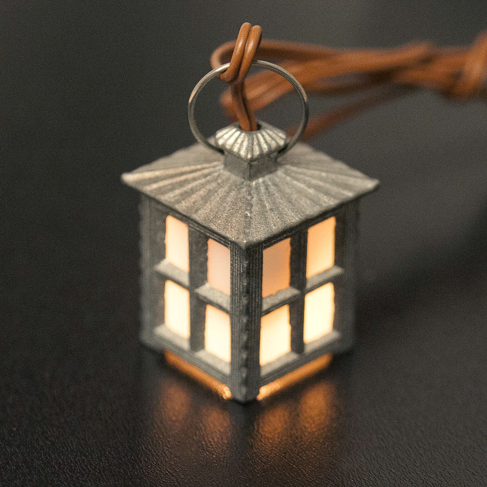 Nativity accessory, metal lamp with white light, 2.5cm 4
