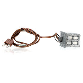 Nativity accessory, metal lamp with white light, 2.5cm s4
