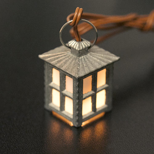 Nativity accessory, metal lamp with white light, 2.5cm 2