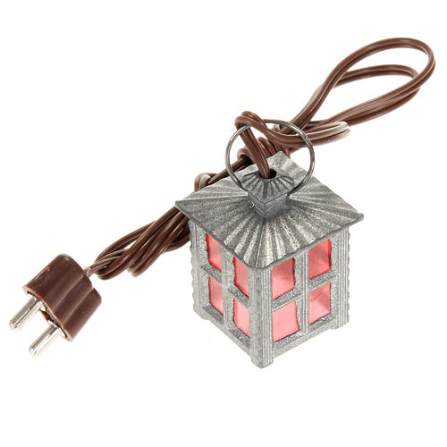 Nativity accessory, metal lamp with red light, 2.5cm 1