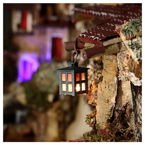 Nativity accessory, metal lamp with red light, 2.5cm 2