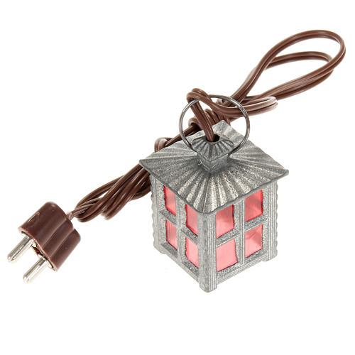 Mini lanterne métal lumière rouge h 2,5 cm 1