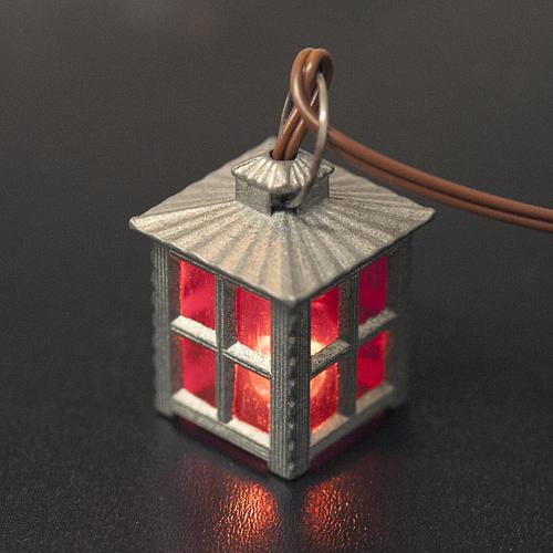 Lampione metallo luce rossa h 2,5 cm 2