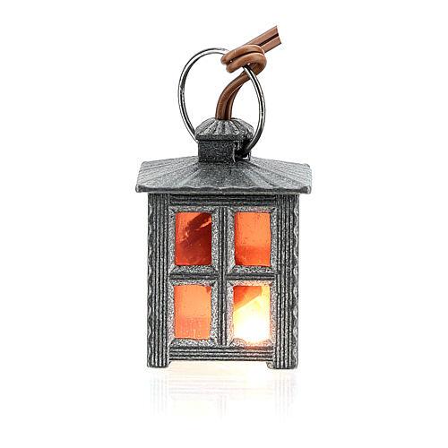 Lampione metallo luce rossa h 2,5 cm 3