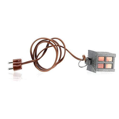 Lampione metallo luce rossa h 2,5 cm 4