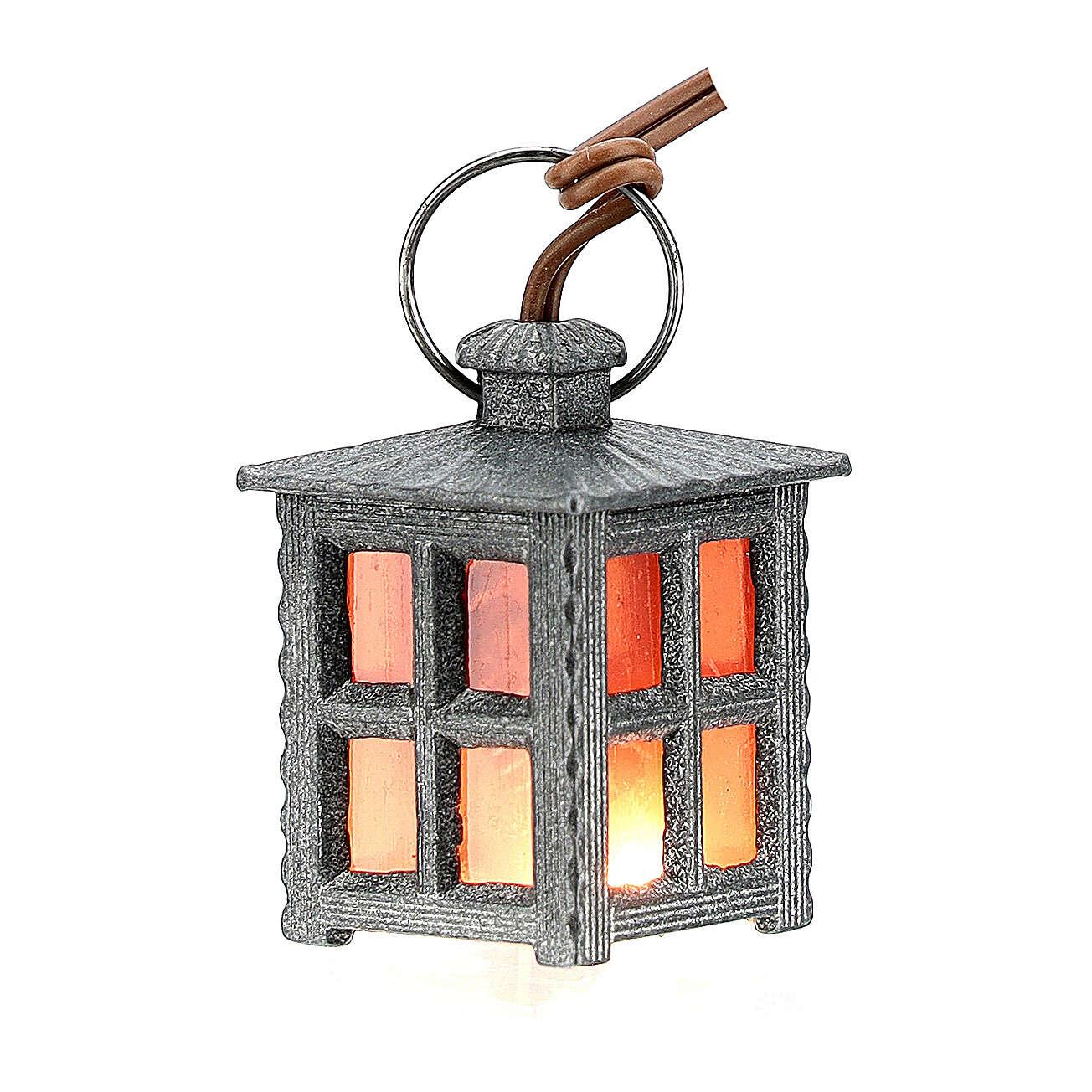 Lanterna metal luz vermelha h 2,5 cm 4