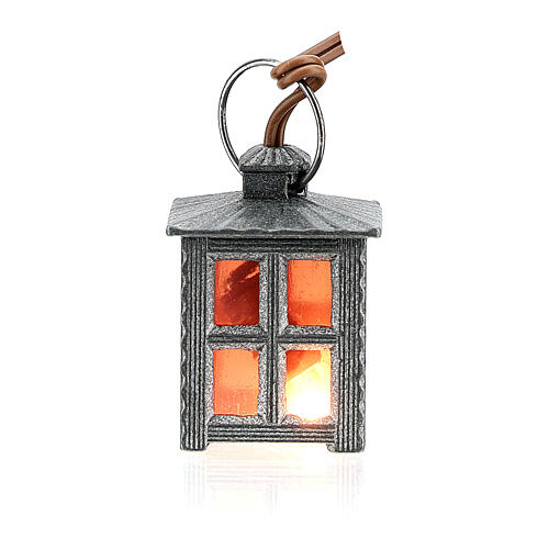 Nativity accessory, metal lamp with red light, 2.5cm 3