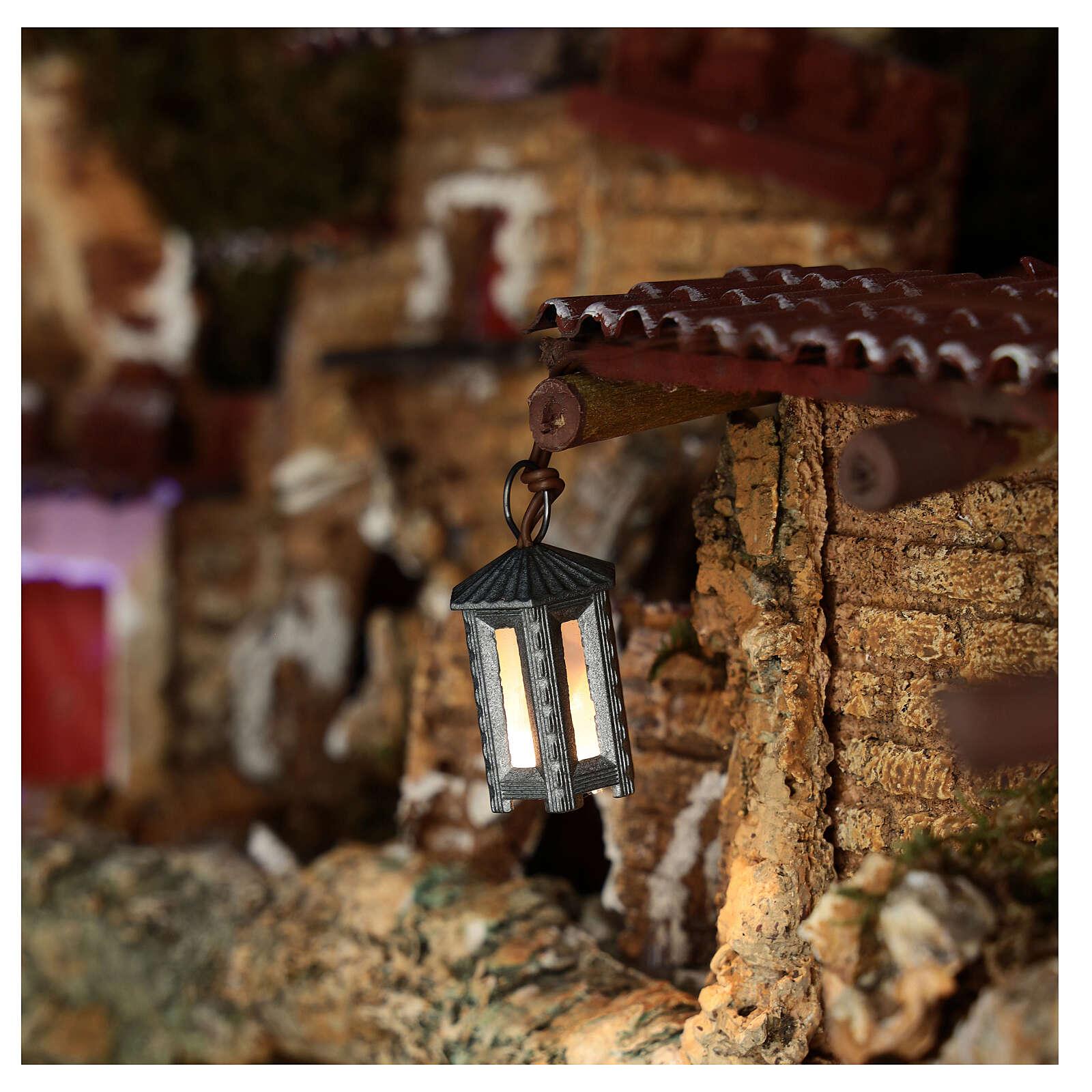 Nativity accessory, metal hexagonal lamp with white light, 3.5cm 4