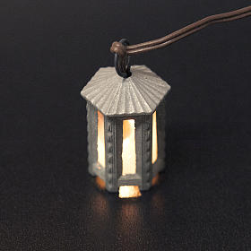 Nativity accessory, metal hexagonal lamp with white light, 3.5cm s2