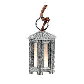 Nativity accessory, metal hexagonal lamp with white light, 3.5cm s1