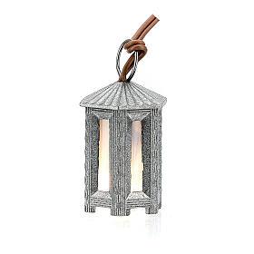 Nativity accessory, metal hexagonal lamp with white light, 3.5cm s3