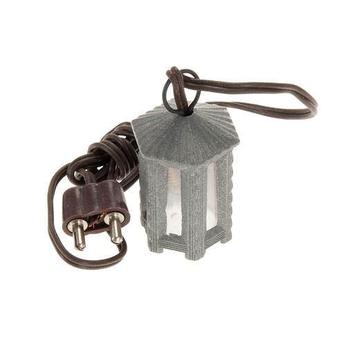 Nativity accessory, metal hexagonal lamp with white light, 3.5cm 1