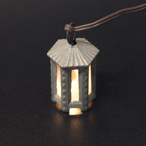 Nativity accessory, metal hexagonal lamp with white light, 3.5cm 2