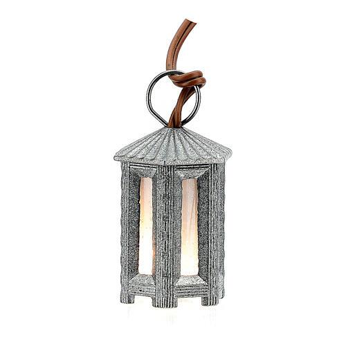 Nativity accessory, metal hexagonal lamp with white light, 3.5cm 1