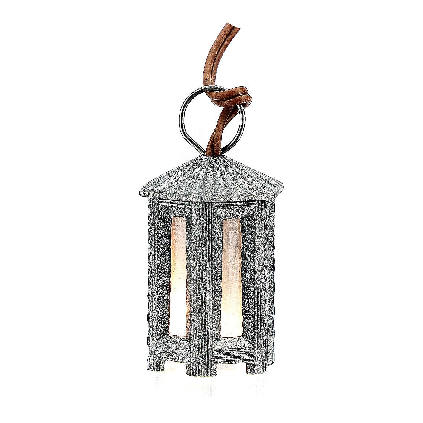 Lampione metallo luce bianca esagonale 3.5 cm 4