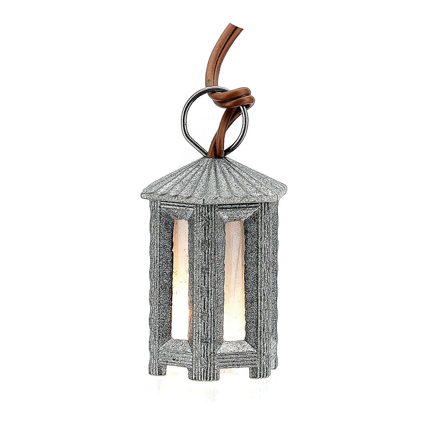 Nativity accessory, metal hexagonal lamp with white light, 3.5cm 4