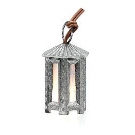 Nativity accessory, metal hexagonal lamp with white light, 3.5cm s3