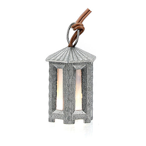 Nativity accessory, metal hexagonal lamp with white light, 3.5cm 3