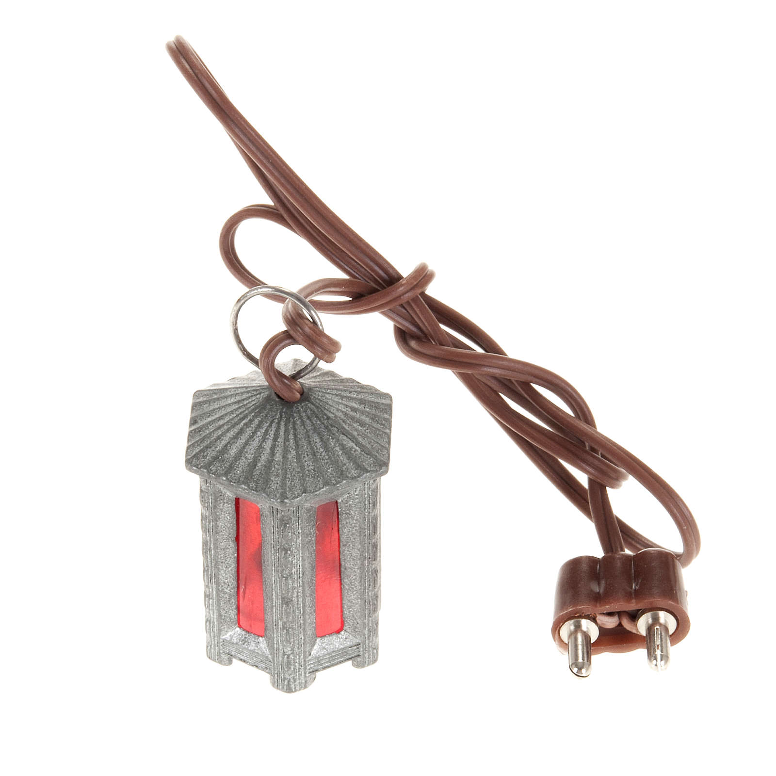 Nativity accessory, metal hexagonal lamp with red light, 3.5cm 4