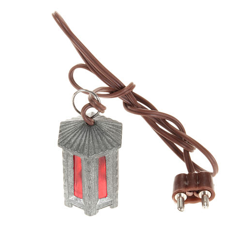 Nativity accessory, metal hexagonal lamp with red light, 3.5cm 1