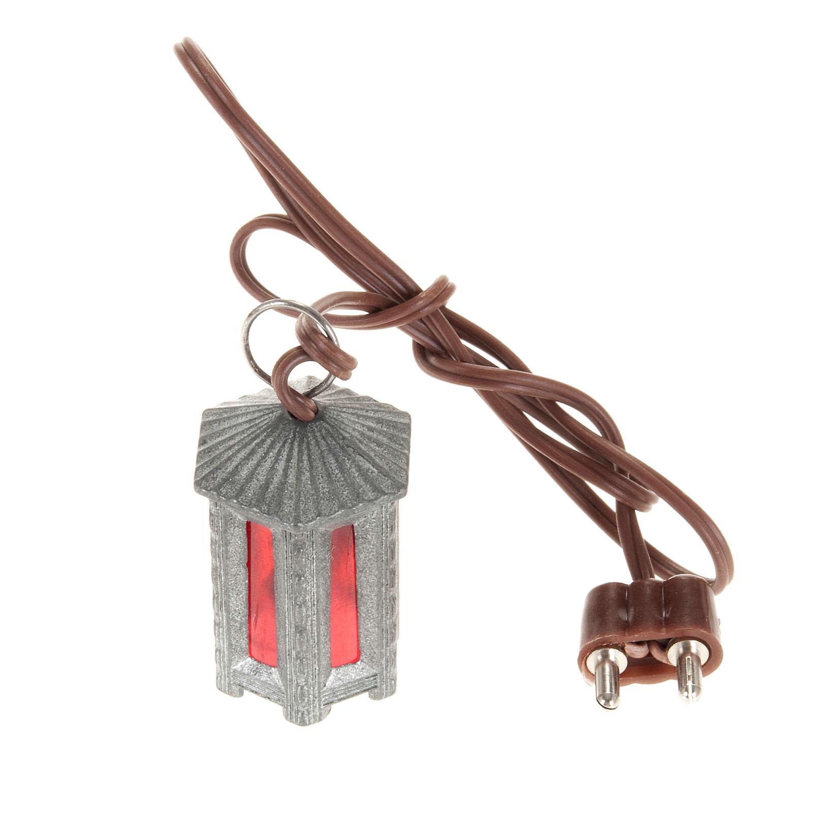 Lampione metallo luce rossa esagonale 3.5 cm 4