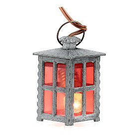 Lanterne métal lumière rouge h 4 cm s1