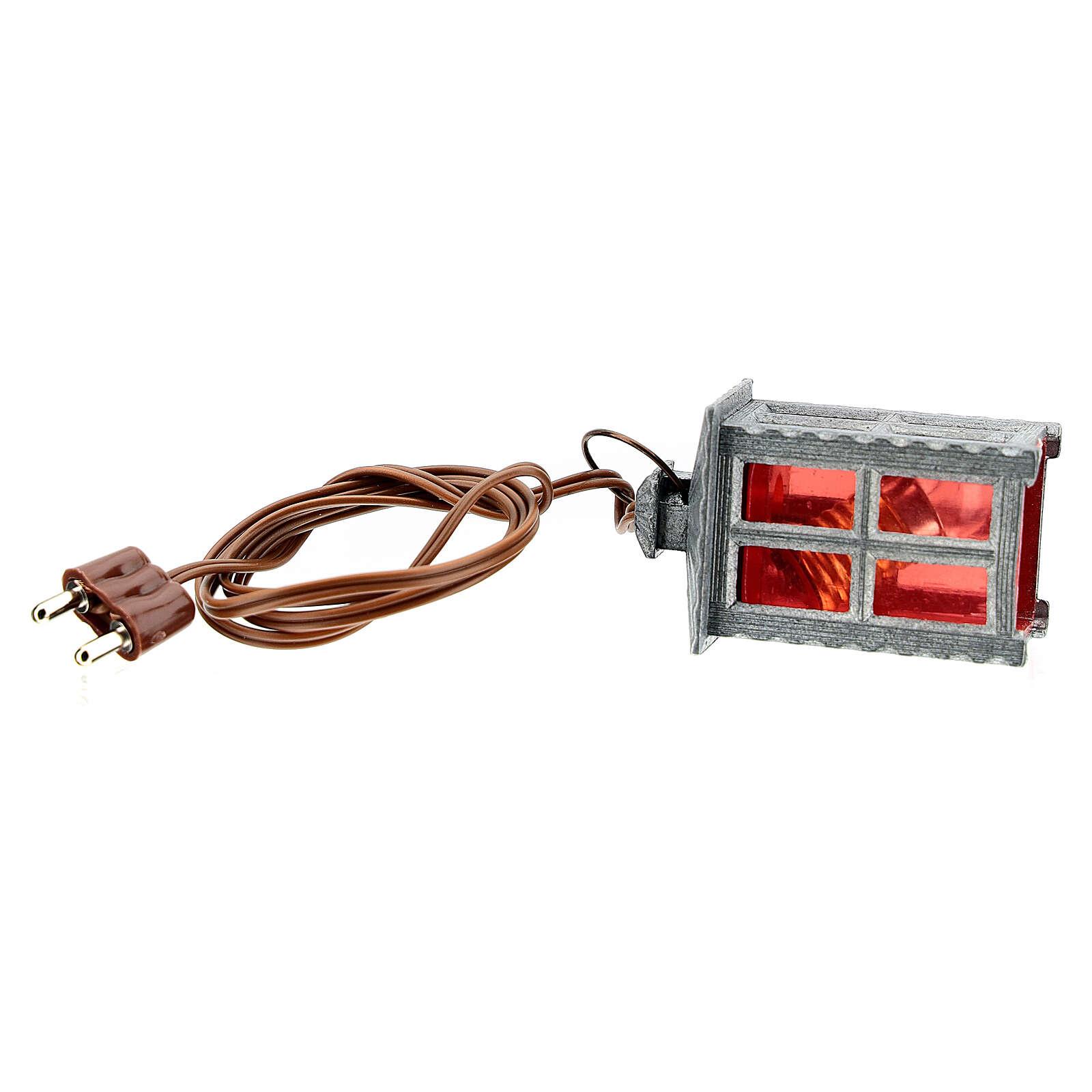 Lampione metallo luce rossa h 4 cm 4