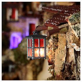 Lampione metallo luce rossa h 4 cm s2