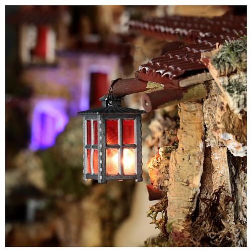 Lampione metallo luce rossa h 4 cm 2
