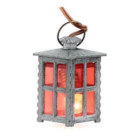 Lampion metal światło czerwone h 4 cm s1