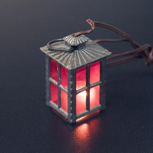 Lampion metal światło czerwone h 4 cm 2