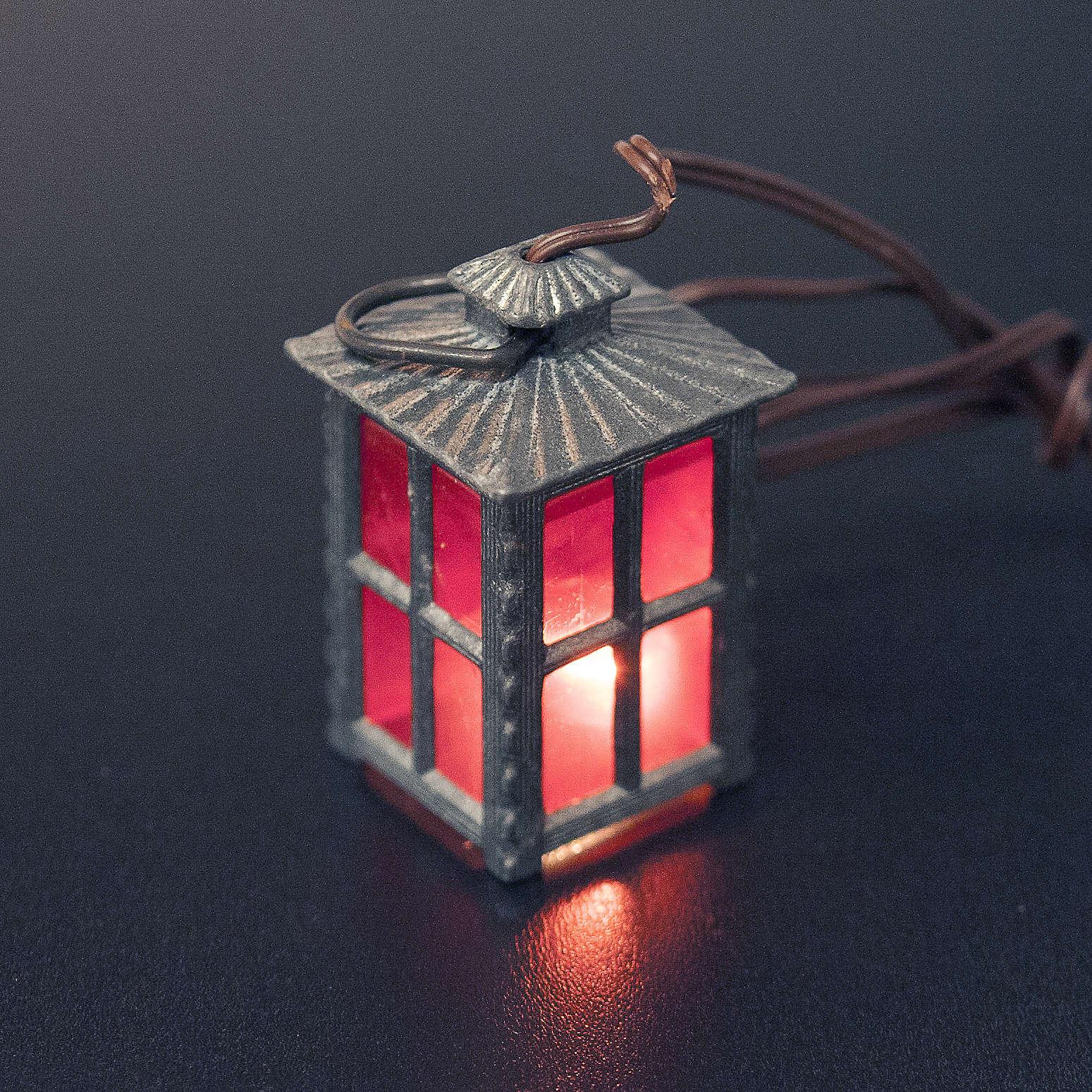 Lanterna metal luz vermelha h 4 cm 4