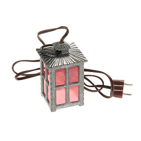 Nativity lights and lamps: Nativity accessory, metal lamp with red light, 4cm