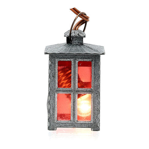 Nativity accessory, metal lamp with red light, 4cm 3