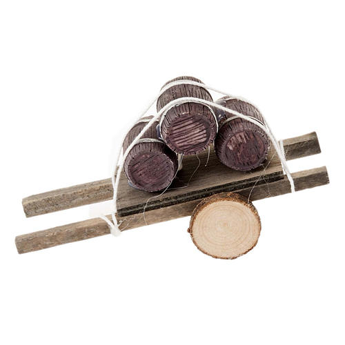 Charrette bois avec tonneaux miniature crèche noel 1