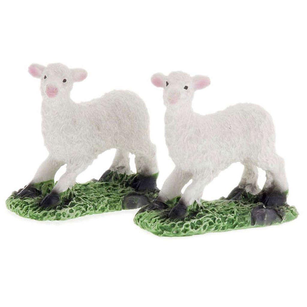 Pecore in resina presepe fai da te set 2 pz. 10 cm 3
