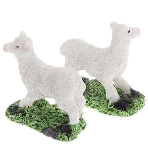 Pecore in resina presepe fai da te set 2 pz. 10 cm 2